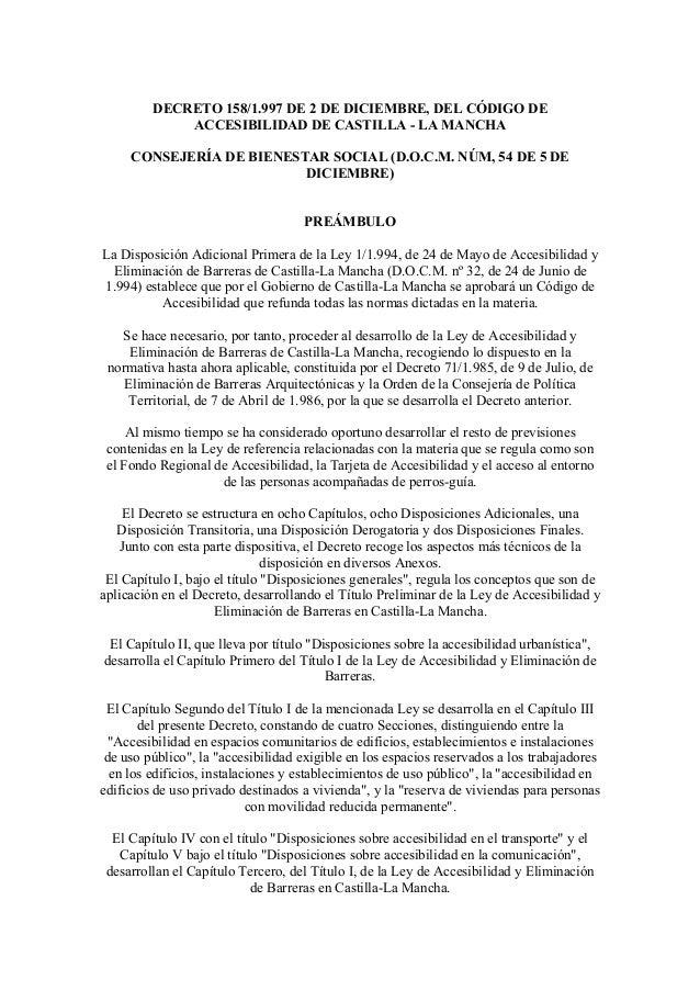 DECRETO 158/1.997 DE 2 DE DICIEMBRE, DEL CÓDIGO DEACCESIBILIDAD DE CASTILLA - LA MANCHACONSEJERÍA DE BIENESTAR SOCIAL (D.O...