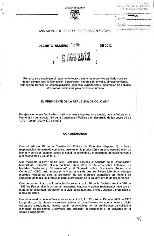 REPÚBLICA DE COLOMBIA  MINISTERIO DE SALUD Y PROTECCiÓN SOCIAL  DECRETO NÚMERO-  1686  .(  DE 2012    J  Por el cual se es...