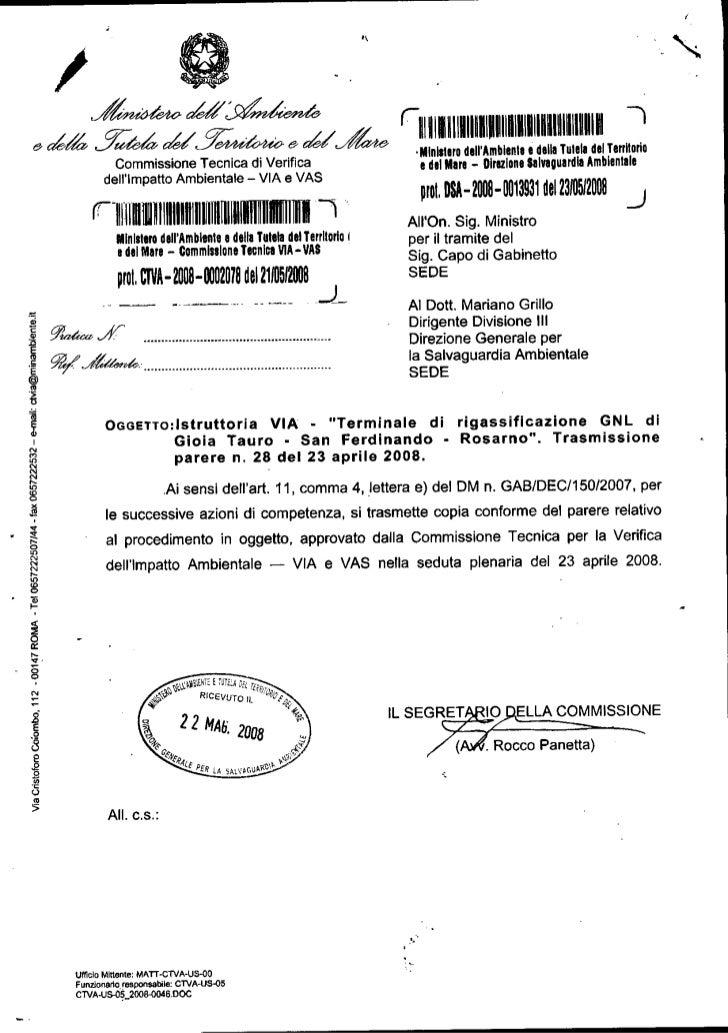 Decreto VIA Rigassificatore San Ferdinando