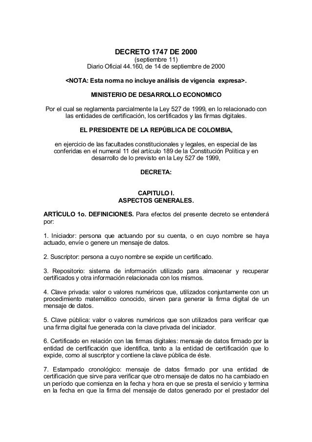DECRETO 1747 DE 2000 (septiembre 11) Diario Oficial 44.160, de 14 de septiembre de 2000 <NOTA: Esta norma no incluye análi...