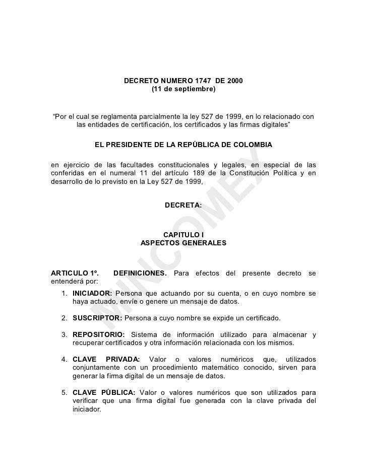 """DECRETO NUMERO 1747 DE 2000                            (11 de septiembre)""""Por el cual se reglamenta parcialmente la ley 52..."""