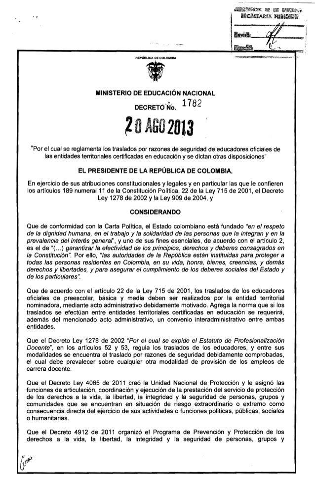 Amenazados y desplazados: Decreto 1782 del 20 de agosto de 2013