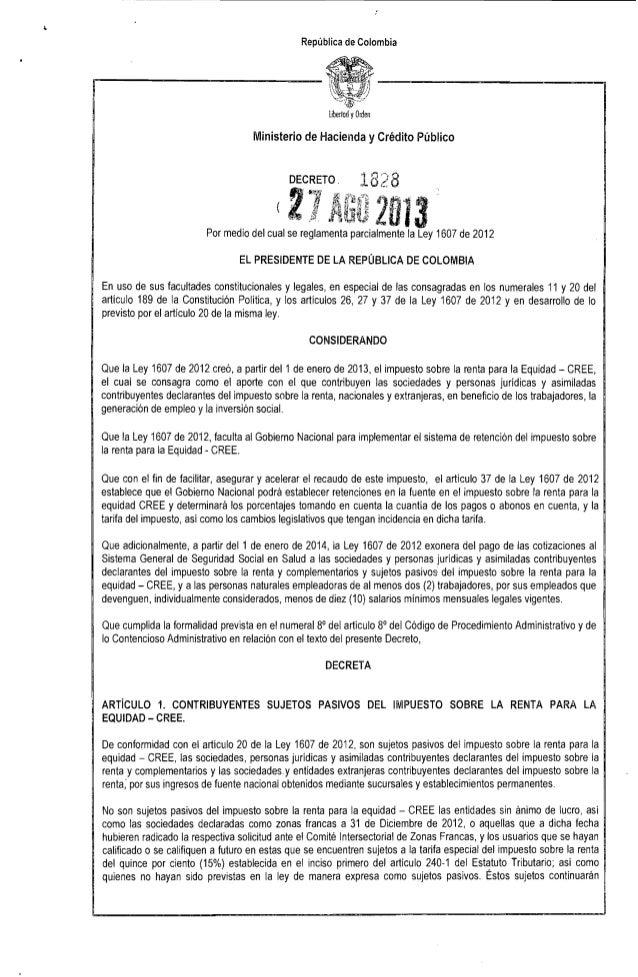 """República de Colombia Libertad yOrden Ministerio de Hacienda y Crédito Público DECRETO, 182B (2',' ,f fIO""""""""'1""""3' ':, ~ L'""""..."""
