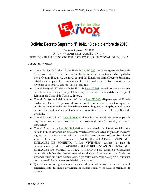 Bolivia: Decreto Supremo Nº 1842, 18 de diciembre de 2013  Bolivia: Decreto Supremo Nº 1842, 18 de diciembre de 2013 Decre...