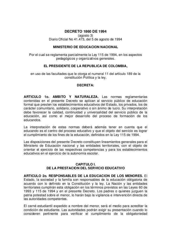 DECRETO 1860 DE 1994                                     (agosto 3)                 Diario Oficial No 41.473, del 5 de ago...