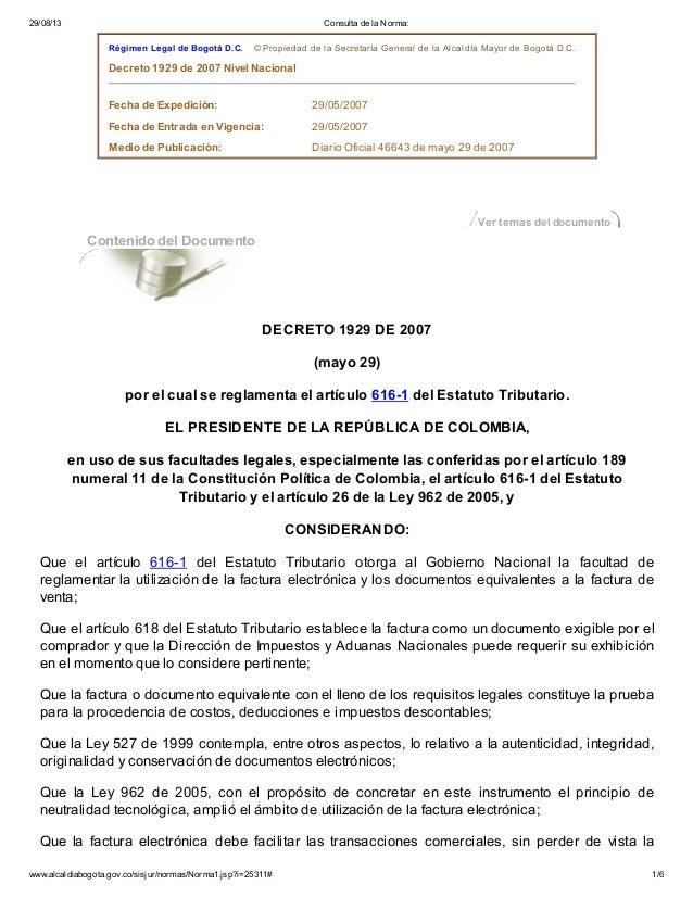 Decreto1929 FACTURA ELECTRONICA