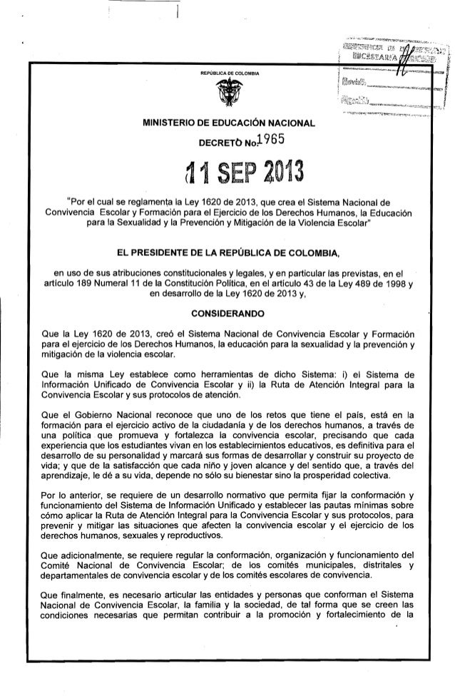 Decreto 1965 del 11 de septiembre de 2013 reglamentario de  la ley 1620