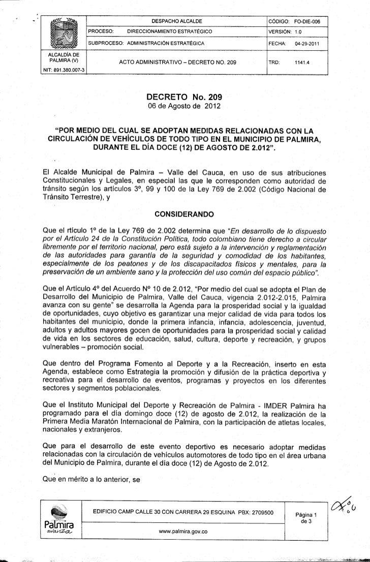 Decreto 209 de 2012  de la Alcaldía de Palmira - Media Marathon vias