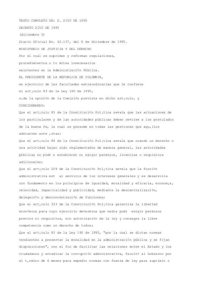Decreto 2150 de 1995