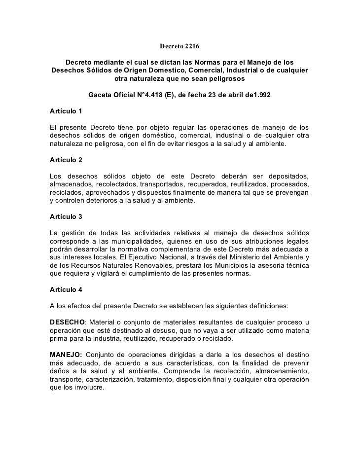 Decreto 2216 decreto mediante el cual se dictan las normas para el manejo de los desechos sólidos de origen domestico, comercial, industrial o de cualquier otra naturaleza que no sean peligrosos