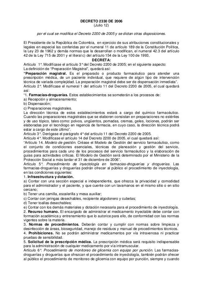 DECRETO 2330 DE 2006                                        (Julio 12)        por el cual se modifica el Decreto 2200 de 2...