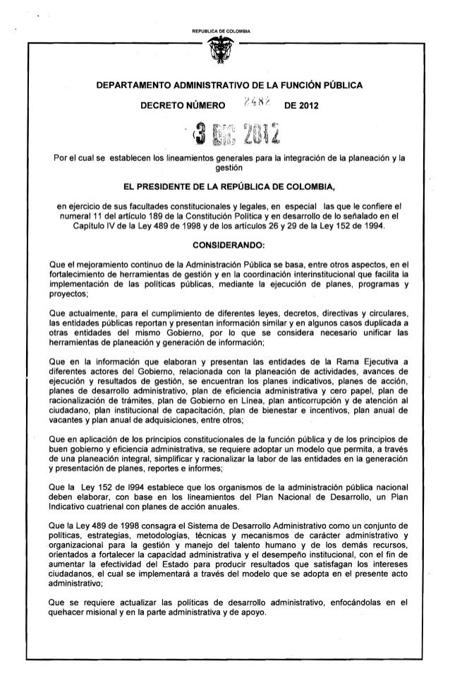 Decreto 2482 de 2012 (lg planeación y gestión)