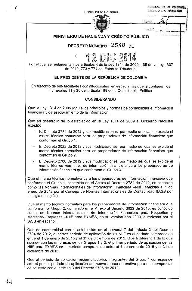 REPÚBLICA DE COLOMBIA _ MINISTERIO DE HACIENDA Y CRÉDITO PÚBLICO DECRETO NÚMERO 25 ~ 8 DE ( Por el cual se reglamentan los...