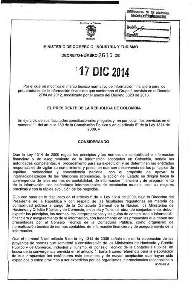 MINISTERIO DE COMERCIO, INDUSTRIA Y TURISMO DECRETO .NUMSaO 2615 DE (11 ole2014 Por el cual se modifica el marco técnico n...