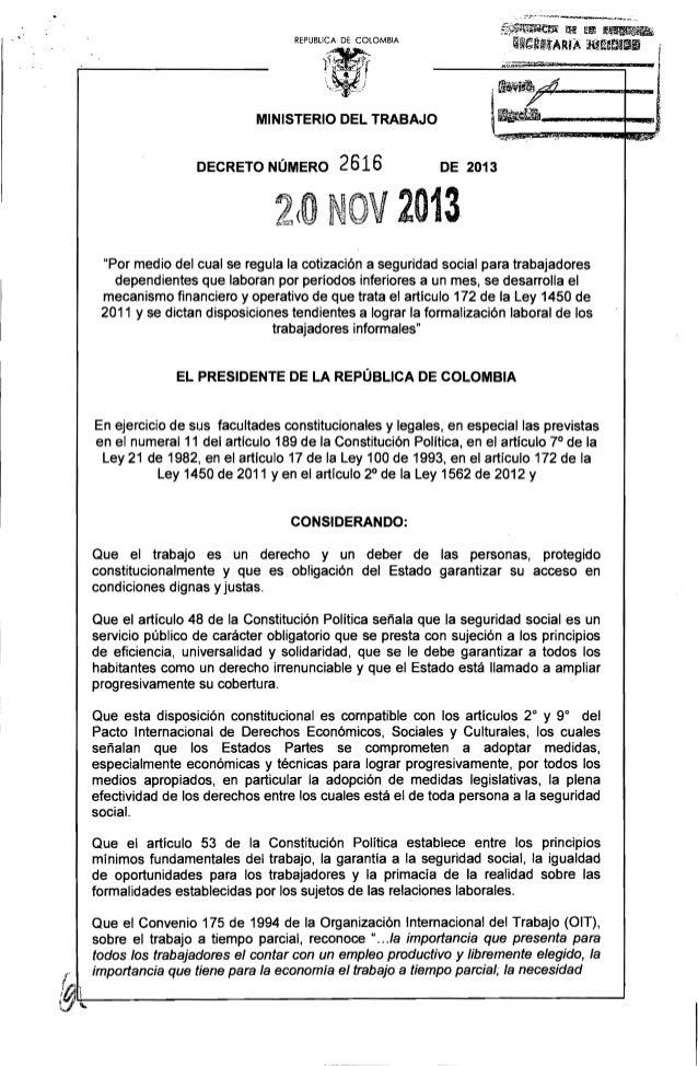 ~i;J~l_t~YJ; fH J.;IJ If~  '~J'.~'~(fíMdA iiU!19111  REPUBUCA DE COlOMBIA  ~;-~~~~JJli~  b..  MINISTERIO DEL TRABAJO  DECR...
