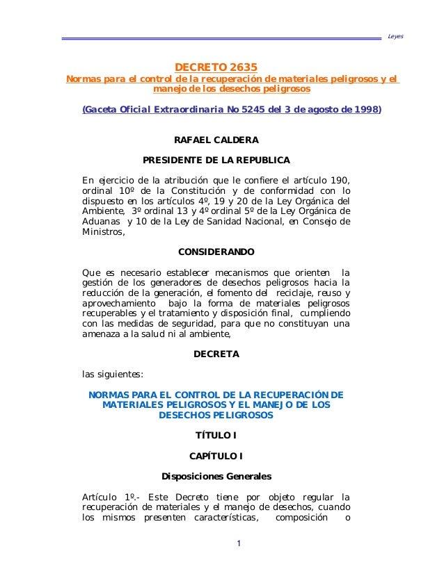 Leyes  DECRETO 2635  Normas para el control de la recuperación de materiales peligrosos y el manejo de los desechos peligr...