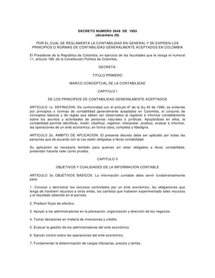DECRETO NUMERO 2649 DE 1993                                         (diciembre 29)   POR EL CUAL SE REGLAMENTA LA CONTABIL...