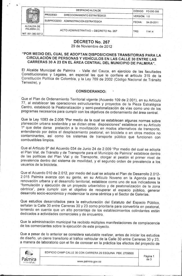 Decreto 267 2012 11 29 de la Alcaldia de Palmira