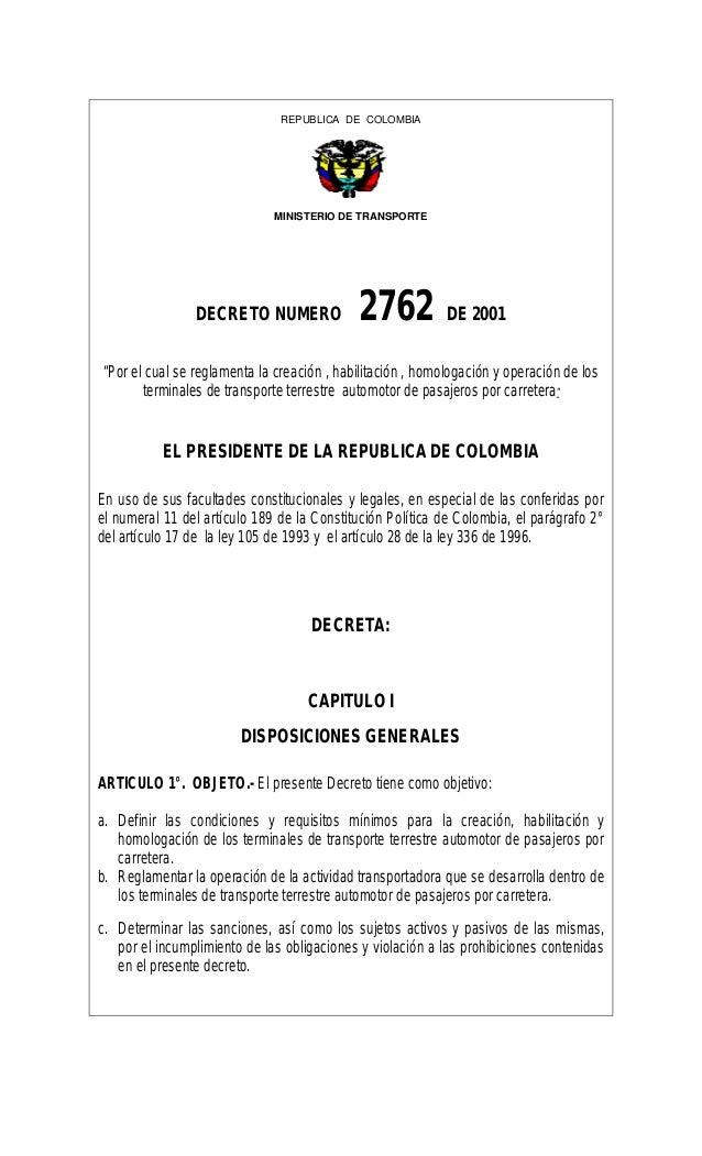 Decreto 2762 2001