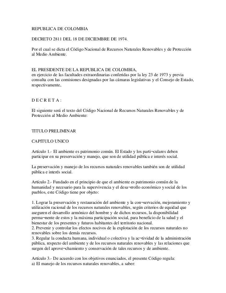 Decreto2811 del18dediciembrede1974