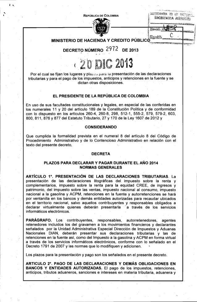 Requisitos lugares y plazo declaraciones 2014 Decreto 2972 del 20 de diciembre de 2013