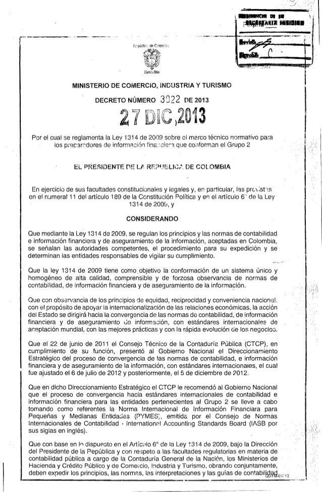 Reglamentacion Grupo 2 Decreto 3022 del 27 de diciembre de 2013