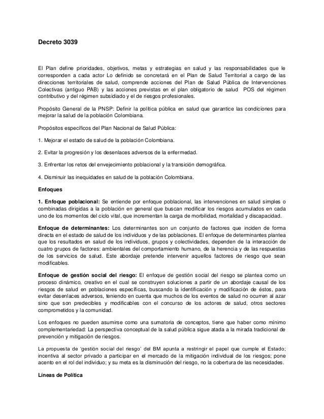Decreto 3039 El Plan define prioridades, objetivos, metas y estrategias en salud y las responsabilidades que le correspond...