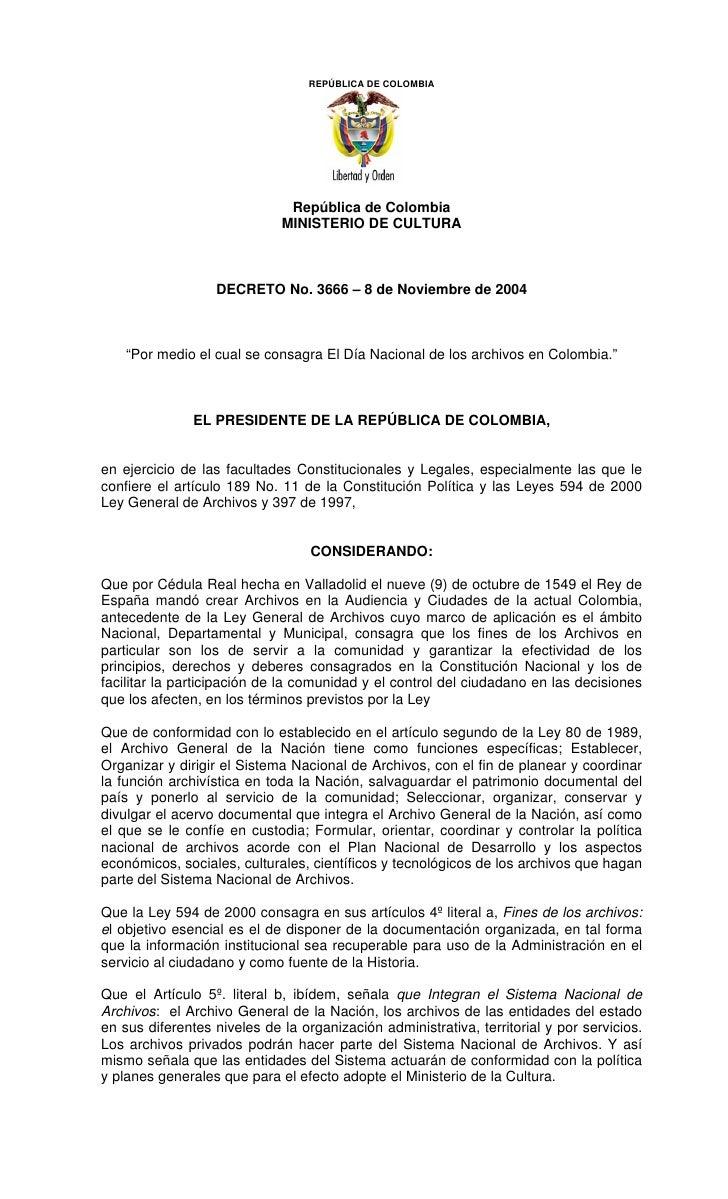 REPÚBLICA DE COLOMBIA                                   República de Colombia                              MINISTERIO DE C...