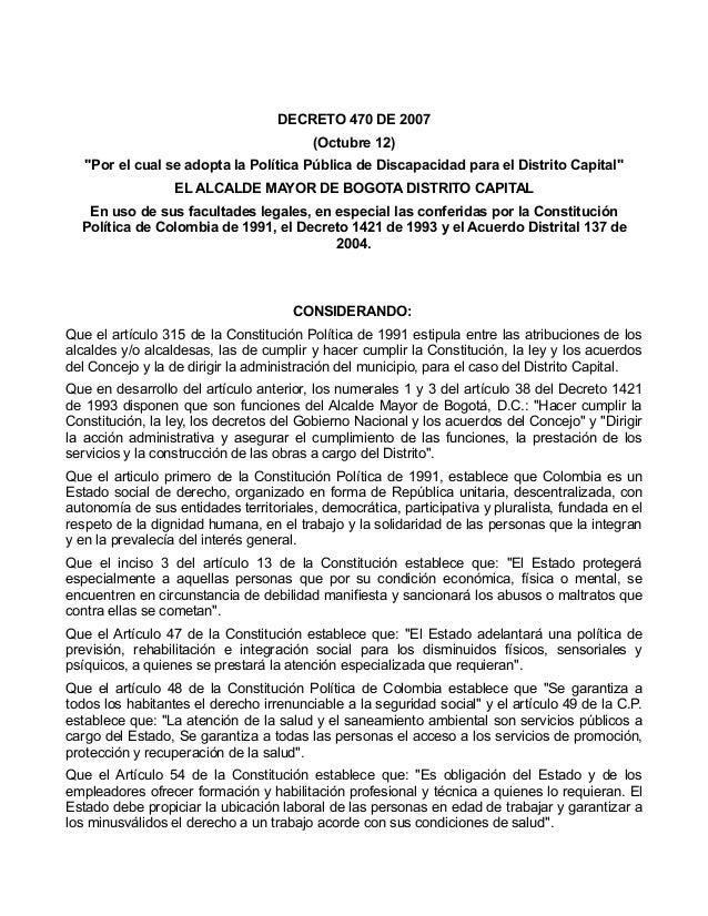 """DECRETO 470 DE 2007                                         (Octubre 12)   """"Por el cual se adopta la Política Pública de D..."""