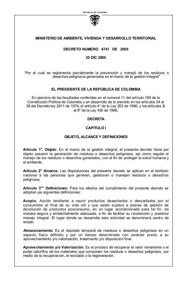 REPUBLICA DE COLOMBIA  I  MINISTERIO DE AMBIENTE, VIVIENDA Y DESARROLLO TERRITORIAL  DECRETO NUMERO 4741 DE 2005  30 DIC 2...