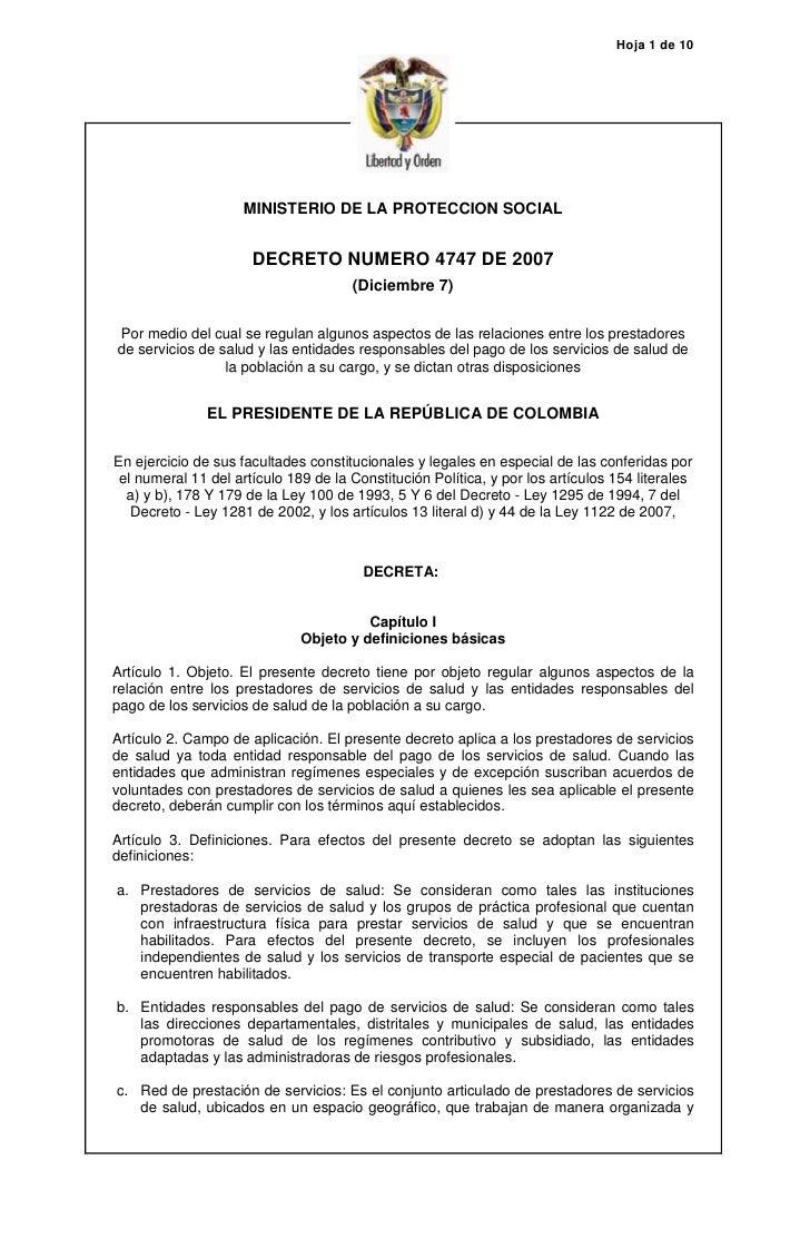Hoja 1 de 10                          MINISTERIO DE LA PROTECCION SOCIAL                         DECRETO NUMERO 4747 DE 20...