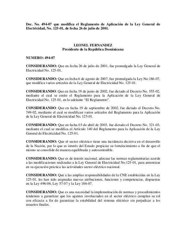 Dec. No. 494-07 que modifica el Reglamento de Aplicación de la Ley General de Electricidad, No. 125-01, de fecha 26 de jul...