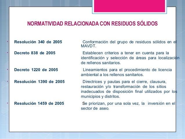 NORMATIVIDAD RELACIONADA CON RESIDUOS SÓLIDOS •  Resolución 340 de 2005  Conformación del grupo de residuos sólidos en el ...