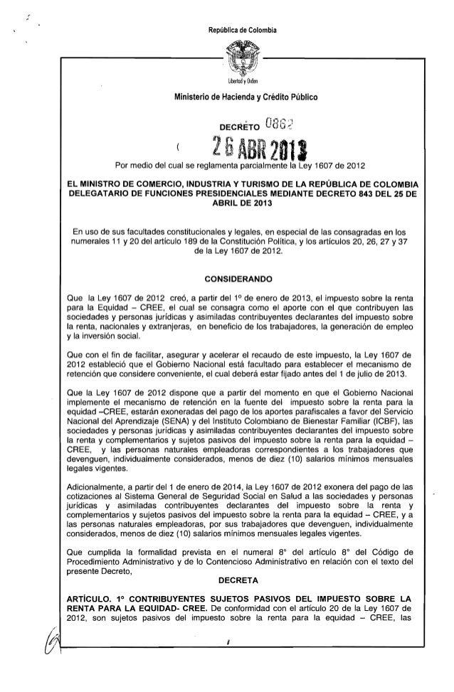 Decreto 862 del 26 de abril de 2013 impuesto cree