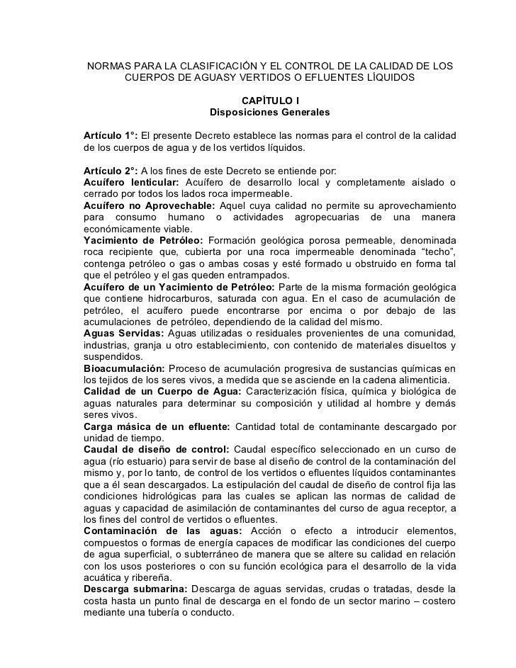 NORMAS PARA LA CLASIFICACIÓN Y EL CONTROL DE LA CALIDAD DE LOS      CUERPOS DE AGUASY VERTIDOS O EFLUENTES LÍQUIDOS       ...