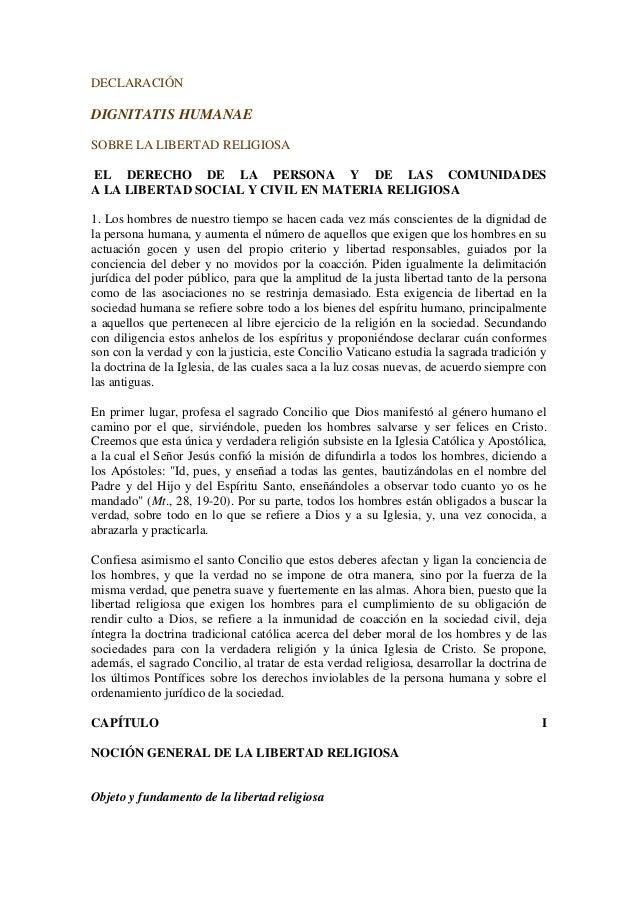 DECLARACIÓN DIGNITATIS HUMANAE SOBRE LA LIBERTAD RELIGIOSA EL DERECHO DE LA PERSONA Y DE LAS COMUNIDADES A LA LIBERTAD SOC...