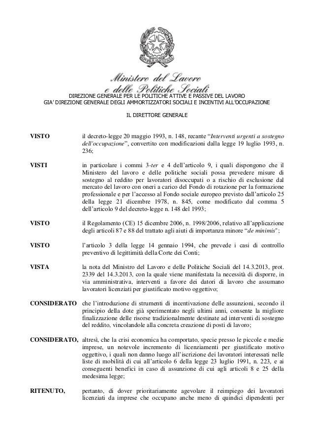 Decreto assunzioni aspi giugno 2013