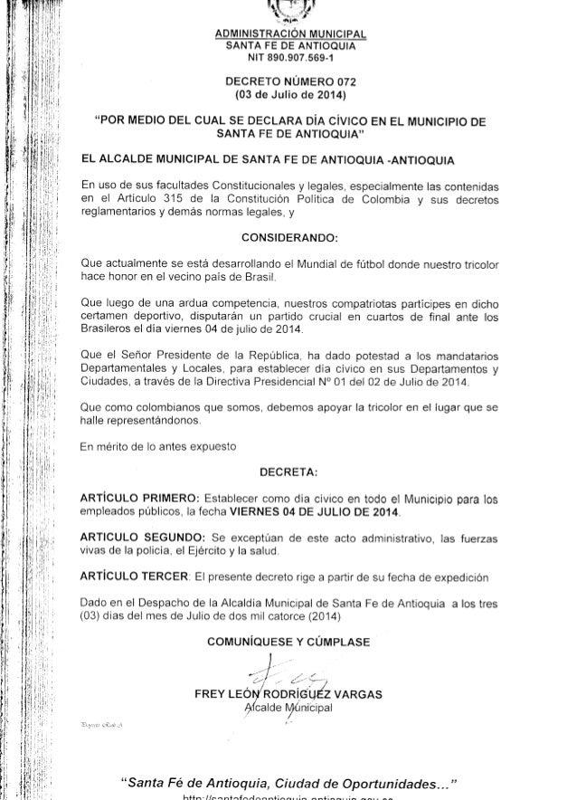 Decreto día cívico