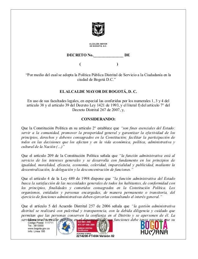 """2214200-FT-604 Versión 02 ALCALDÍA MAYOR DE BOGOTÀ, D.C. DECRETO No._______________ DE ( ) """"Por medio del cual se adopta l..."""