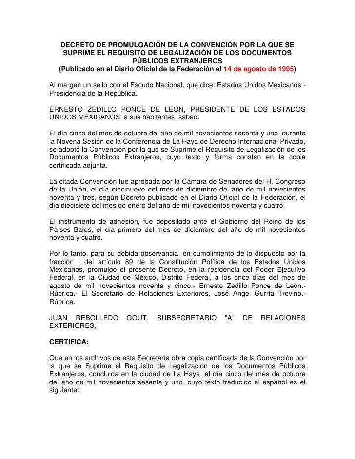 Decreto de promulgación de la convención por la que se suprime el requisito de legalización de los documentos públicos extranjeros