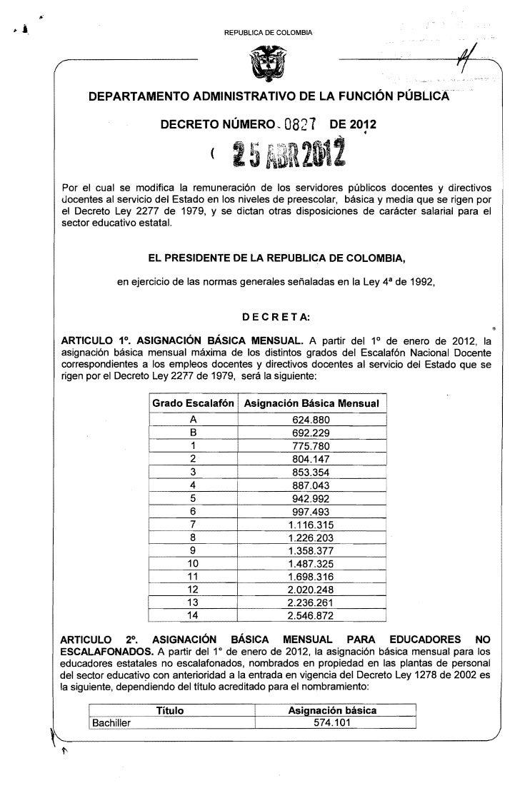 Decreto de salario 2012 del 2277