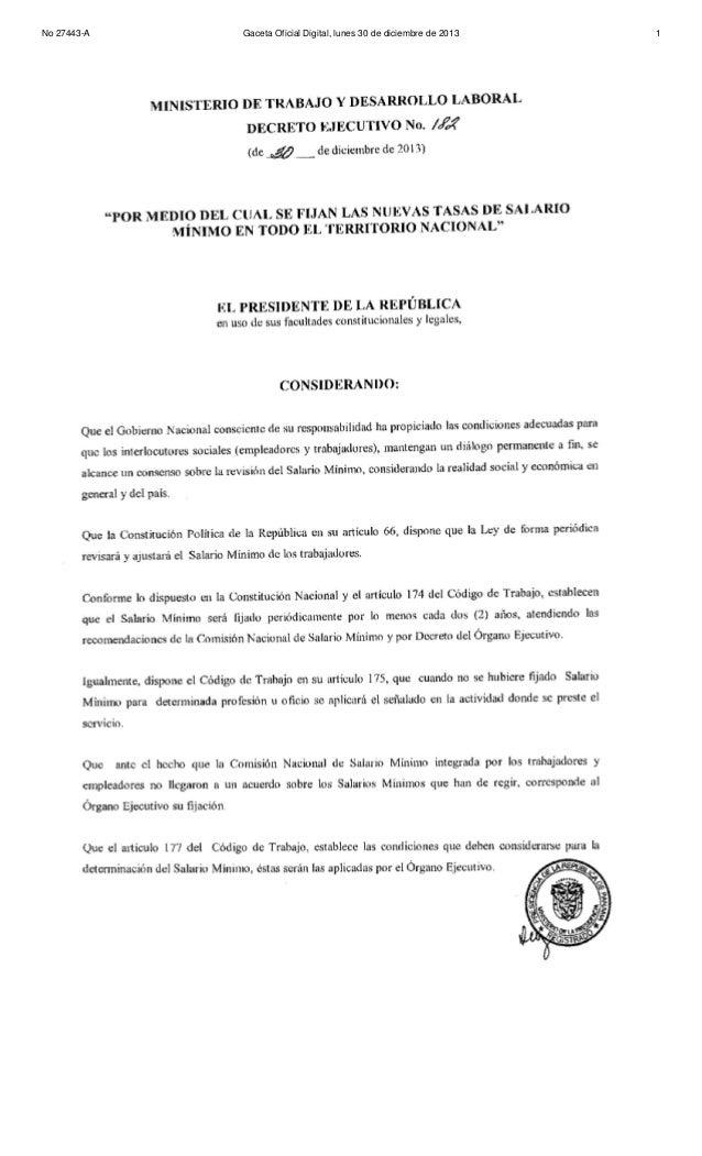 Decreto Ejecutivo N° 182 (de 30 de diciembre de 2013)