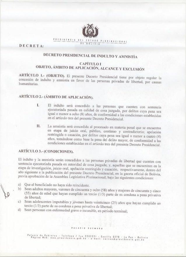 Decreto Supremo de indulto y amnistía