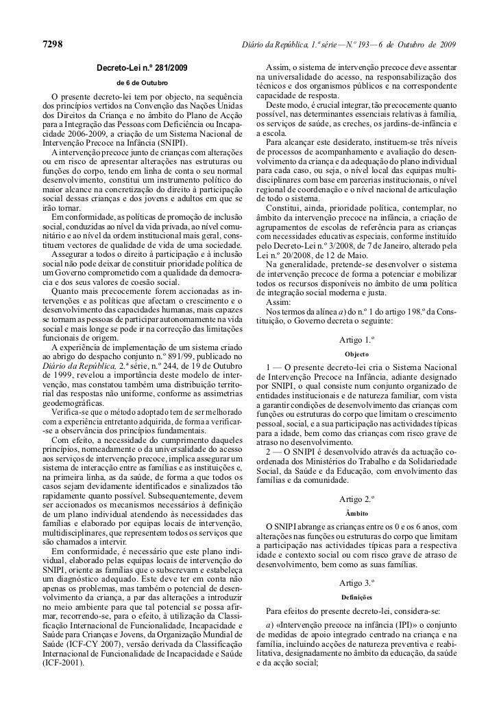 Decreto lei 281 de 2009