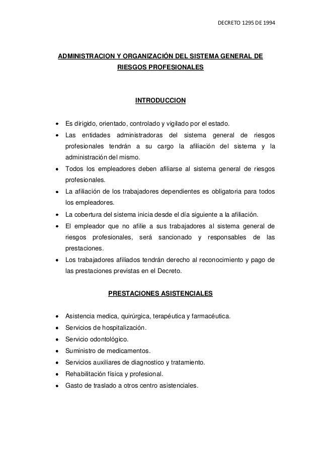 DECRETO 1295 DE 1994ADMINISTRACION Y ORGANIZACIÓN DEL SISTEMA GENERAL DE                    RIESGOS PROFESIONALES         ...