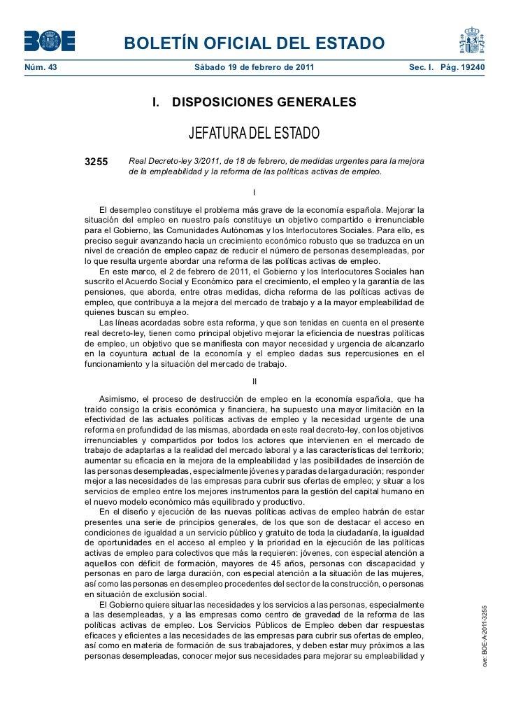 BOLETÍN OFICIAL DEL ESTADONúm. 43                                 Sábado 19 de febrero de 2011                            ...