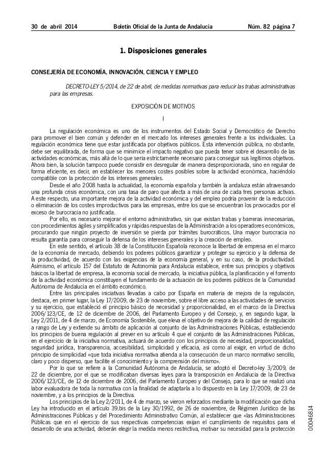 30 de abril 2014 Boletín Oficial de la Junta de Andalucía Núm. 82  página  1. Disposiciones generales Consejería de Ec...
