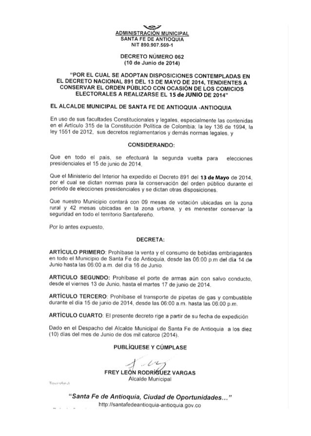 DECRETO NÚMERO 062. LEY SECA PERIODO DE VOTACIONES 2014