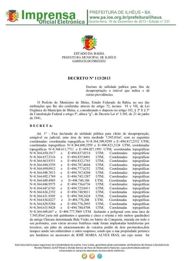 Decreto PMI 113 13 desapropia área da coelba