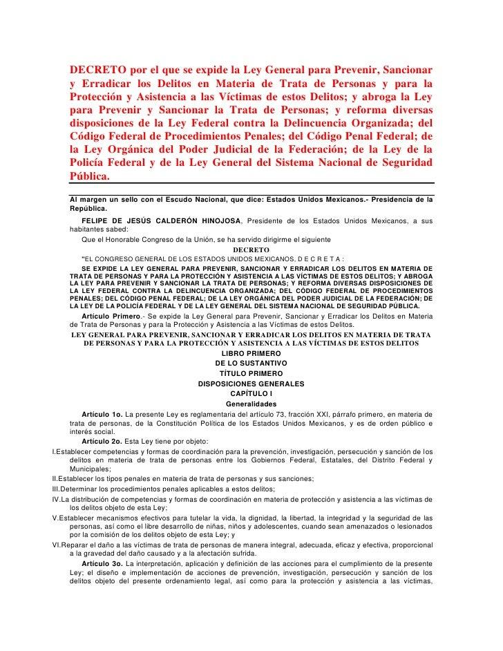 DECRETO por el que se expide la Ley General para Prevenir, Sancionar     y Erradicar los Delitos en Materia de Trata de Pe...